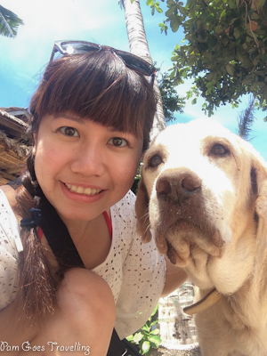 Selfie with the old dog, a resident in Tepanee