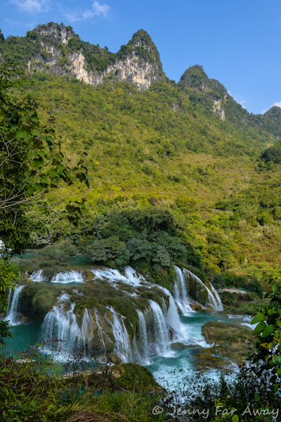 A view of Ban Gioc waterfall from the top of the scary climb.