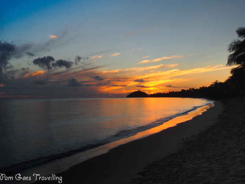 Fiji beach with sunset