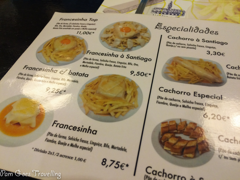 Menu in Café Santiago F
