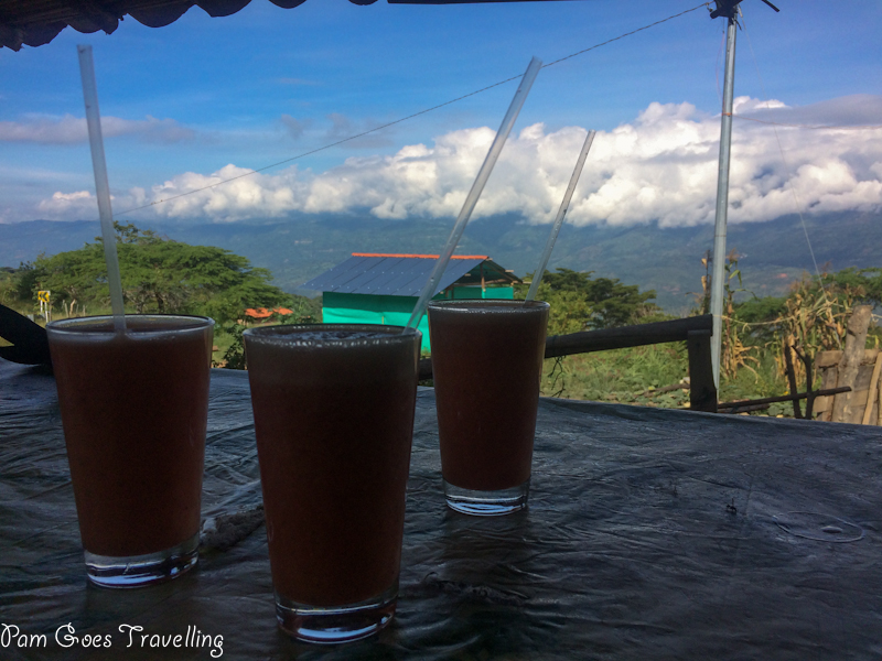 Taking a break with strawberry juice from our trek