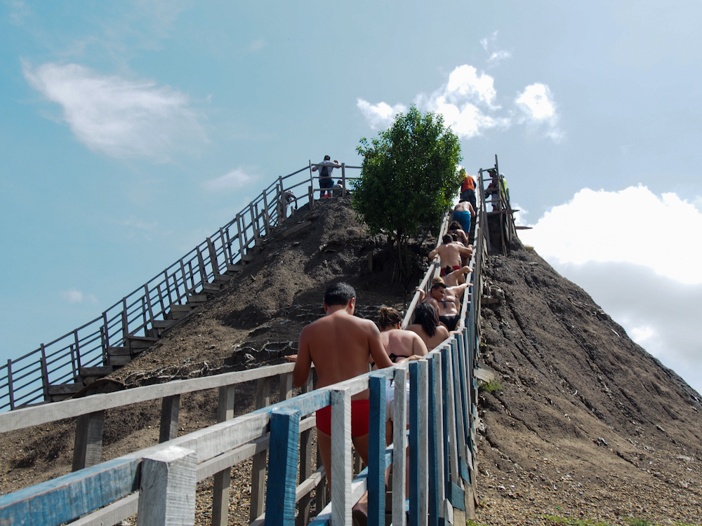 Queuing to go up to Totumo Volcano